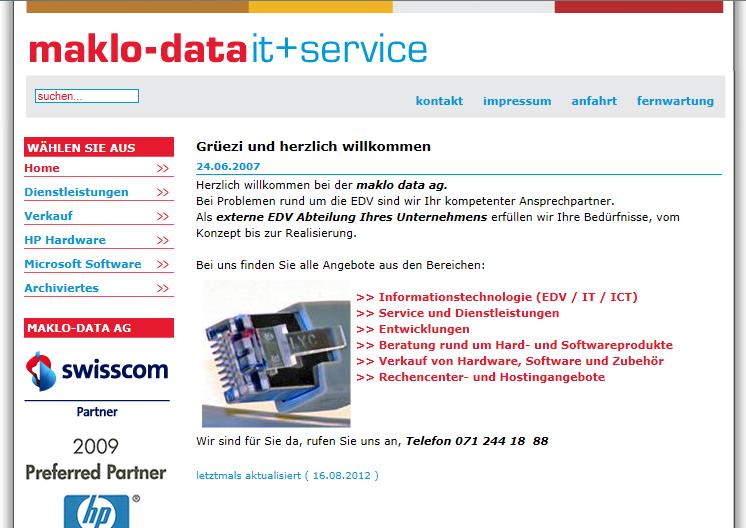 Design alte Website